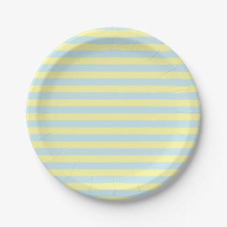 Plato De Papel Rayas amarillas suavemente azules y suaves