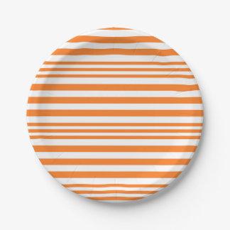 Plato De Papel Rayas anaranjadas y blancas X 3
