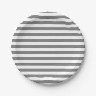 Plato De Papel Rayas del gris y del blanco de carbón de leña