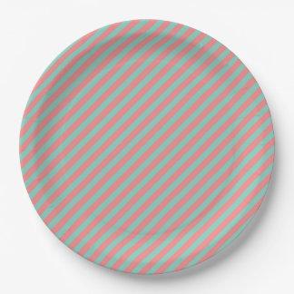 Plato De Papel Rayas del verde menta de la ilusión óptica y de