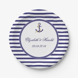 Plato De Papel Rayas náuticas elegantes de la marina de guerra