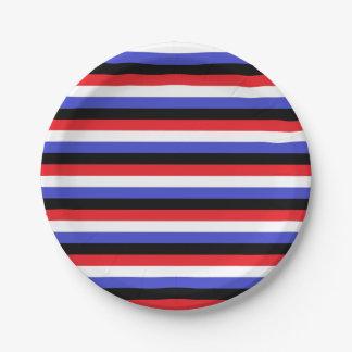 Plato De Papel Rayas negras, blancas, rojas y azules