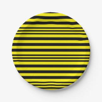 Plato De Papel Rayas negras y amarillas X 3