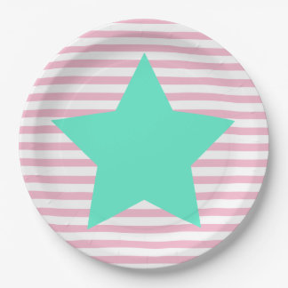Plato De Papel Rayas rosadas y estrella grande del trullo -