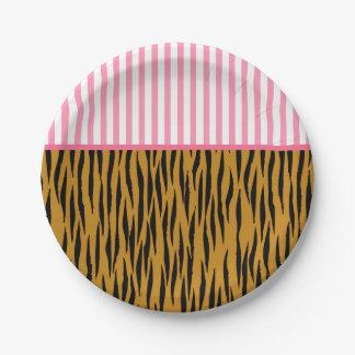 Plato De Papel Rayas rosadas y Tigerprint de la diversión