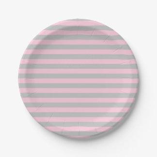 Plato De Papel Rayas suavemente rosadas y de plata