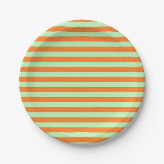 Plato De Papel Rayas suavemente verdes y anaranjadas