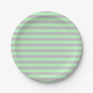 Plato De Papel Rayas suavemente verdes y de plata