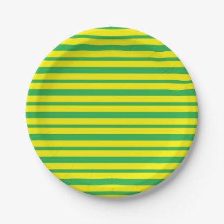 Plato De Papel Rayas verdes y amarillas gruesas y finas