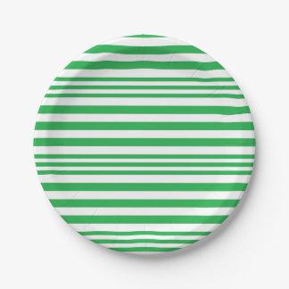 Plato De Papel Rayas verdes y blancas X 3