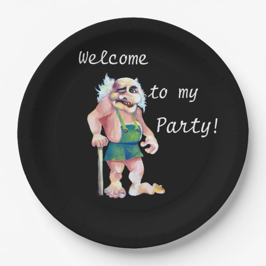 Plato De Papel Recepción a mi fiesta - ogro escandinavo