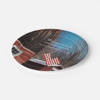 Plato De Papel Recordatorios patrióticos de la bandera del