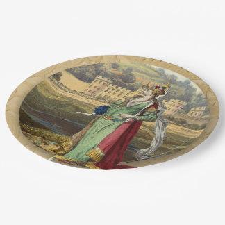 Plato De Papel Reina medieval con el castillo