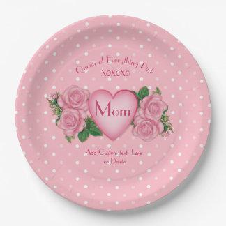 Plato De Papel Reina todo mamá del rosa
