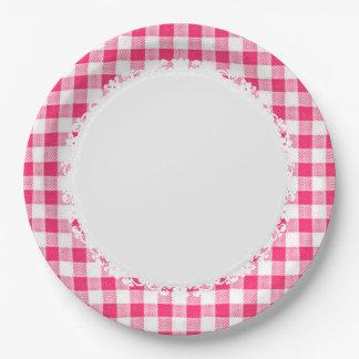 Plato De Papel Retro-Everyday_Picnic_Pink-Check_Plaid