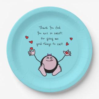 Plato De Papel Rezo de la comida de los niños rosados de Emoji