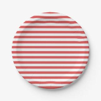 Plato De Papel Rojo de muy buen gusto y el blanco raya la placa