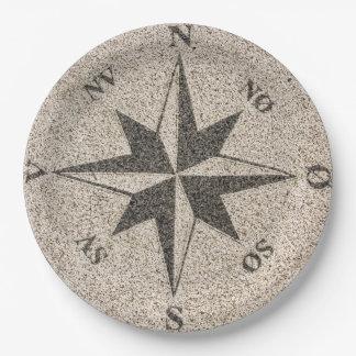 Plato De Papel Rosa de compás náutico en el granito gris