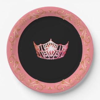 """Plato De Papel Rosado-Coral 9"""" del estilo de Srta. América placas"""