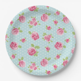 Plato De Papel Rosas elegantes lamentables florales de la placa