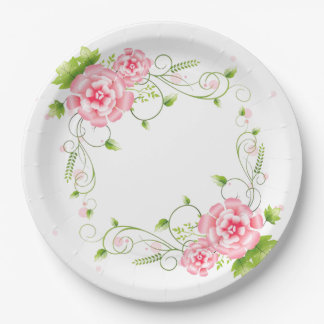 Plato De Papel Rosas rosados
