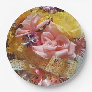 Plato De Papel Rosas rosados de la primavera y placas de papel