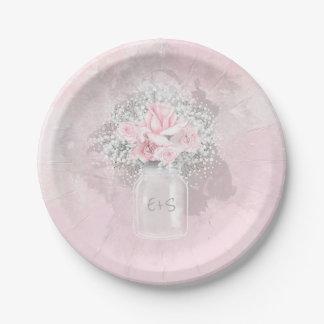 Plato De Papel Rosas rosados y boda de la respiración del bebé