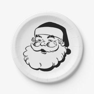 Plato De Papel Santa blanco y negro retro