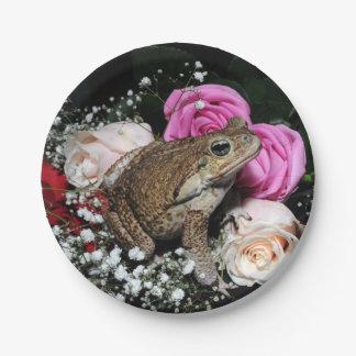 Plato De Papel Sapo del bastón en flores