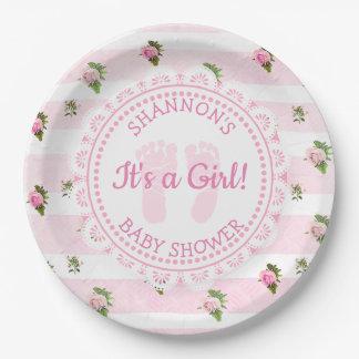 Plato De Papel Se personalizan le las placas del chica de una