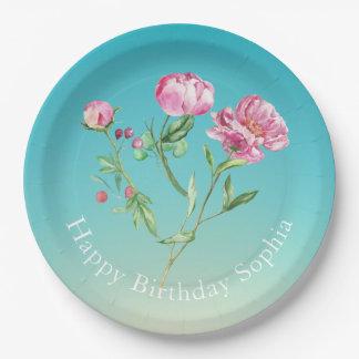 Plato De Papel Se ruborizan los rosas rosados en las placas de