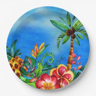 Plato De Papel Selva colorida exótica de la flor - hawaiana