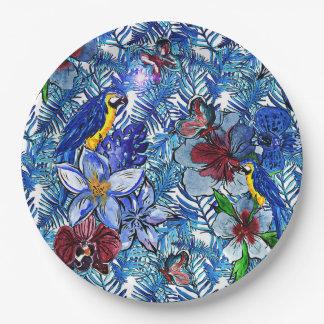 Plato De Papel Selva de la hawaiana azul tropical y flores