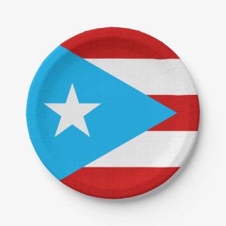 Plato De Papel Servilleta de la bandera de Puerto Rico del azul