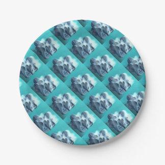 Plato De Papel Setas de ostra en azul
