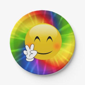 Plato De Papel Signo de la paz Emoji del teñido anudado