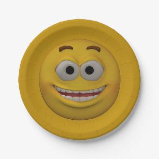 Plato De Papel smiley 3 del estilo 3D