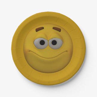 Plato De Papel smiley 4 del estilo 3D