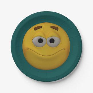 Plato De Papel smiley del estilo 3D