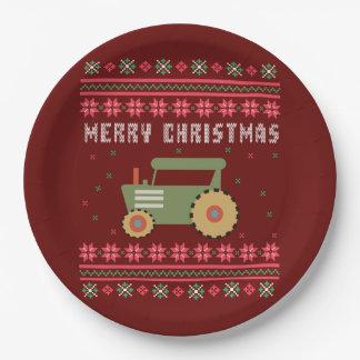 Plato De Papel Suéter feo del navidad del tractor verde