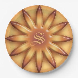 Plato De Papel Sun étnico. Textura geométrica de la pendiente.