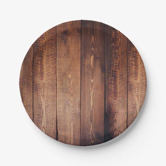 Plato De Papel Tablones de madera del país rústico