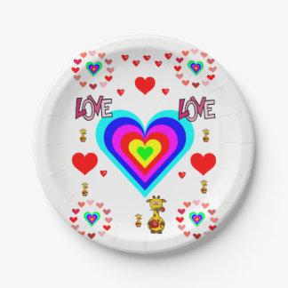 Plato De Papel Tarjeta del día de San Valentín de las placas de