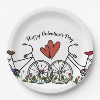 Plato De Papel Tarjeta del día de San Valentín de los amantes de