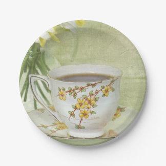 Plato De Papel taza de té del vintage fijada con las margaritas