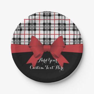 Plato De Papel Tela escocesa de tartán negra roja y fiesta lindo
