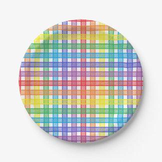 Plato De Papel Tela escocesa del arco iris