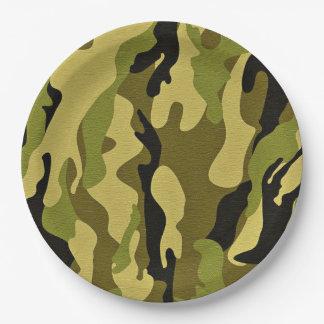 Plato De Papel Textura verde del ejército del camuflaje