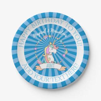 Plato De Papel Tía maravillosa mágica - princesa del unicornio
