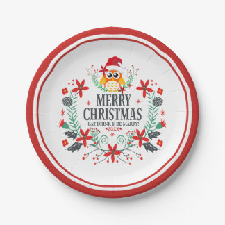 Plato De Papel Tipografía de las Felices Navidad y guirnalda del